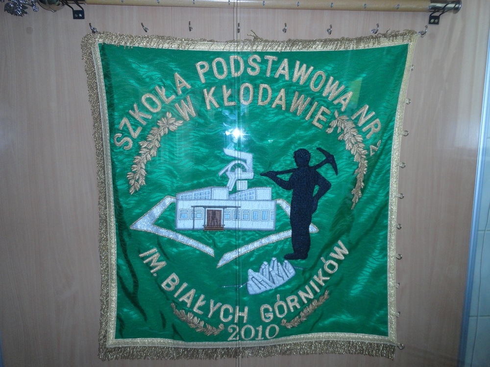 School banner -- Kłodawa is home to Poland's largest salt mine.