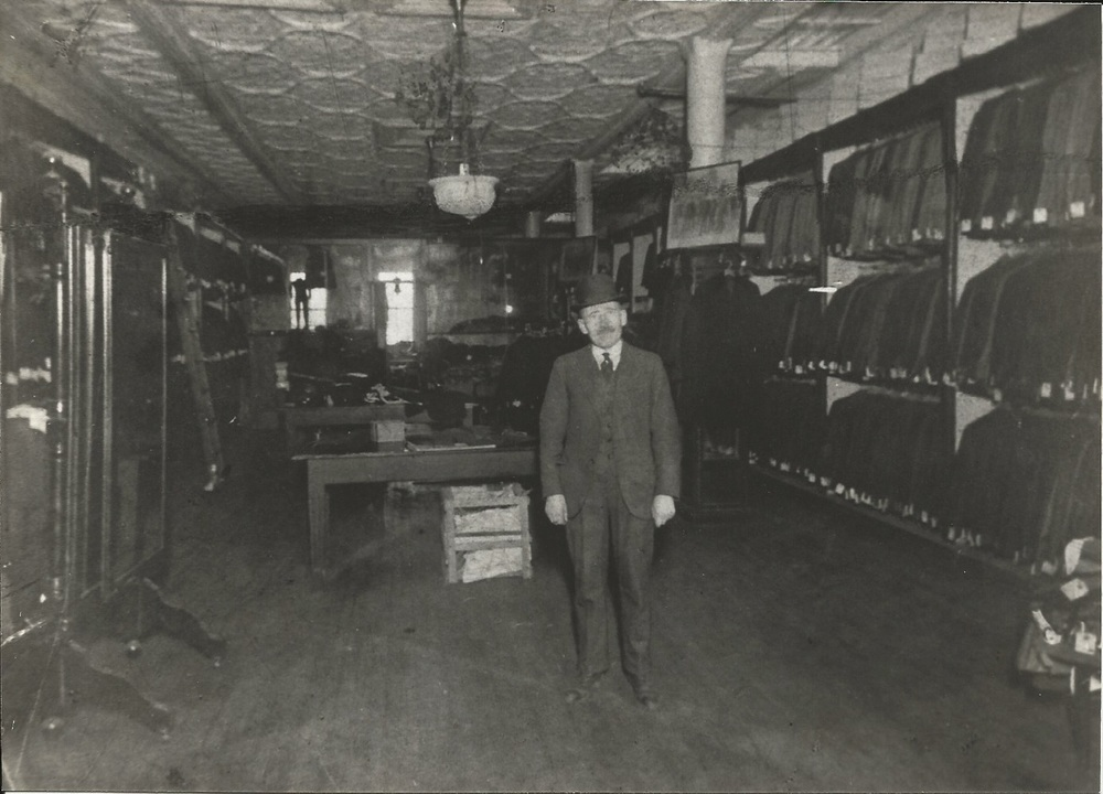 Morris Miller in the Miller Bros. store, Pitkin Avenue, Brownsville, 1915