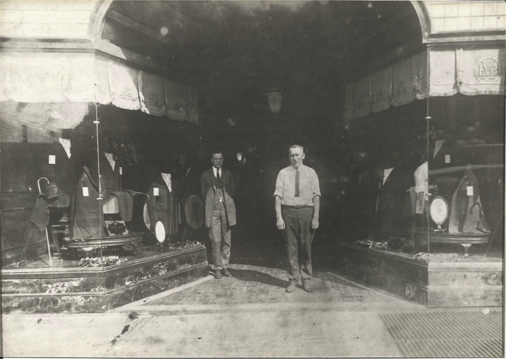 Morris Miller in front of Miller Bros., Pitkin Avenue, Brownsville 1927