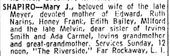 Mary Miller Smith Shapiro, NYT 20 Oct 1963