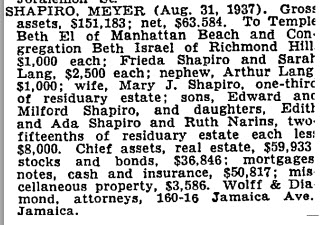 Meyer Shapiro estate, NYT 23 Mar 1939