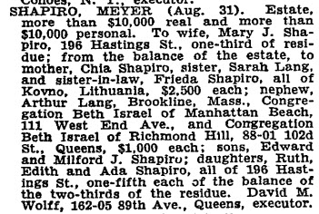 Meyer Shapiro Wills for Probate NYT 17 Sep 1937