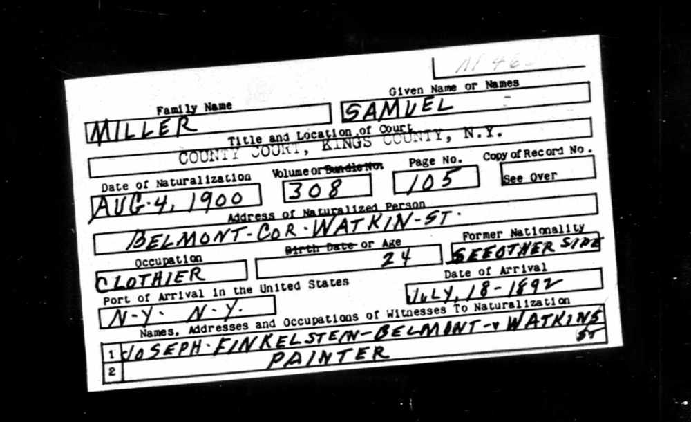 Samuel Miller naturalization