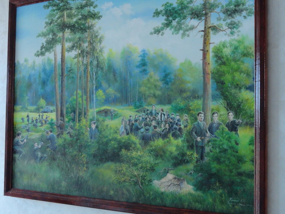 Painting of the Bielski partisan camp displayed at the Beis Aharon Bielski School