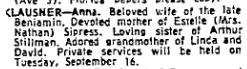 Anna Klausner obituary, NYT 15 Sept 1975