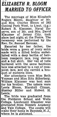 Robert Klausner weds Elizabeth Bloom. NYT 23 Nov 1950