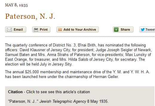 David Klausner, B'nai Brith District No. 3. Jewish Telegraphic Agency, 8 May 1935
