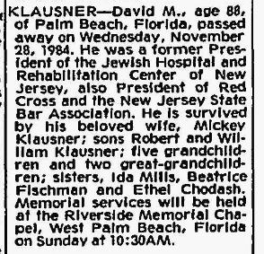 David Klausner obituary, 28 Nov 1984