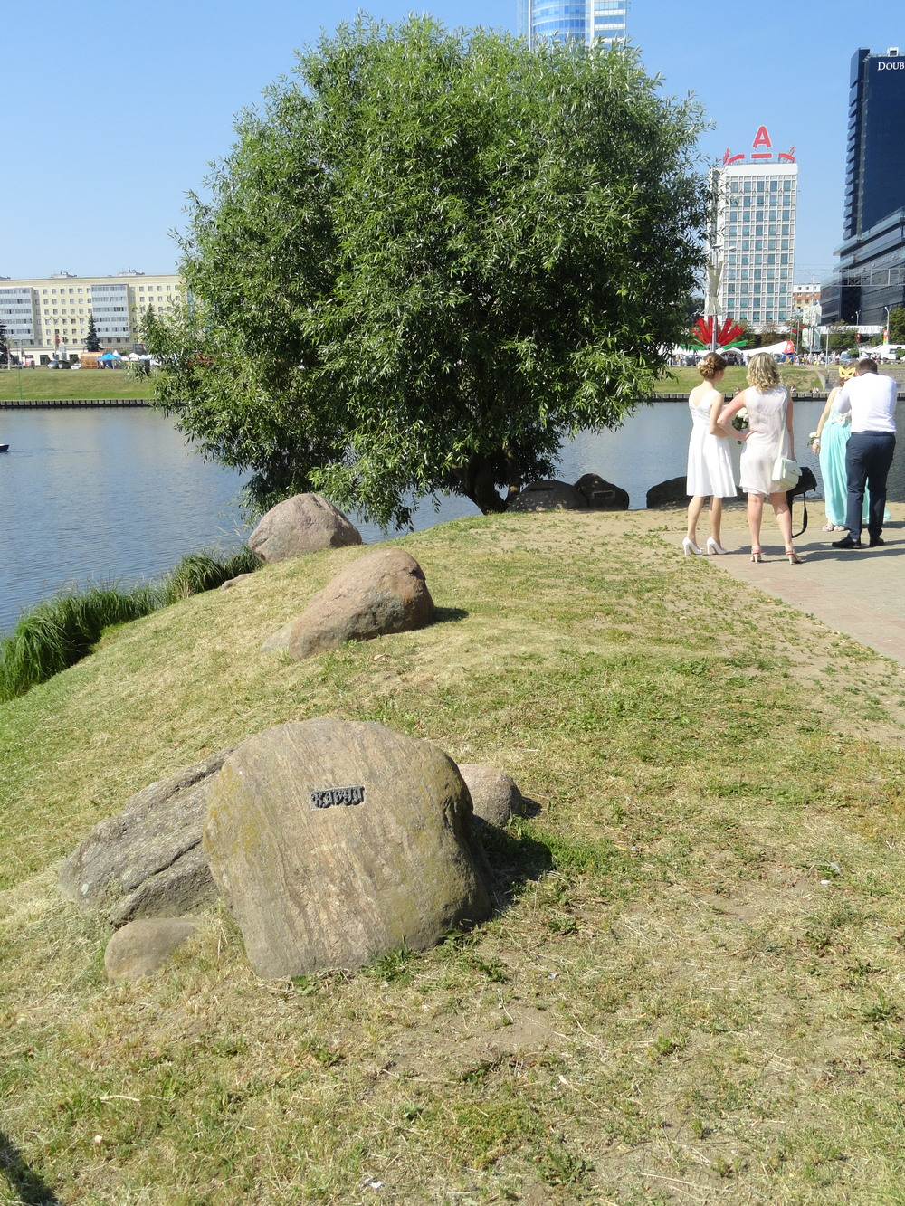 These rocks, brought back from Afghanistan, each bear the name of the place where a Belarusian soldier was killed.