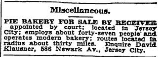 David Klausner, receiver in bakery sale. NYT 22 Mar 1933
