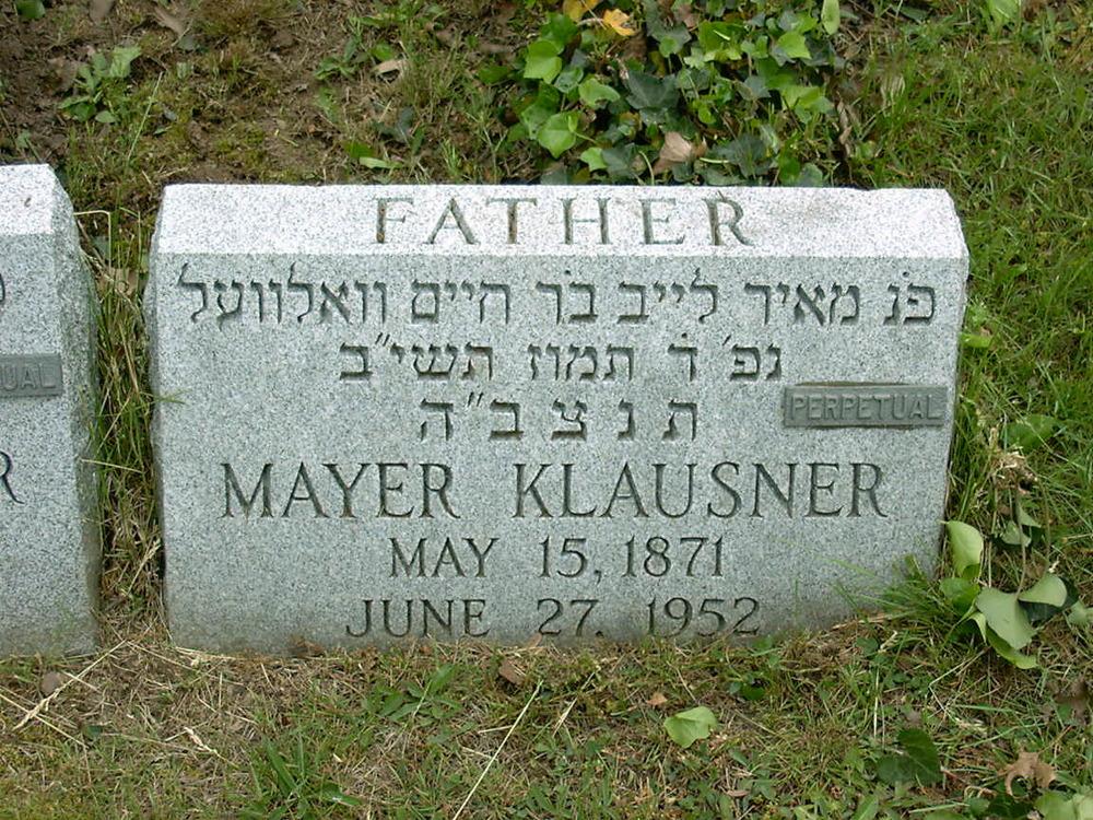 Mayer Klausner, 27 June 1952