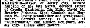 Meyer Klausner obituary, NYT 29 Jun 1952