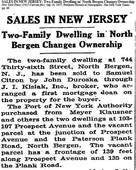 Meyer Klausner house sale. NYT 16 Sep 1937