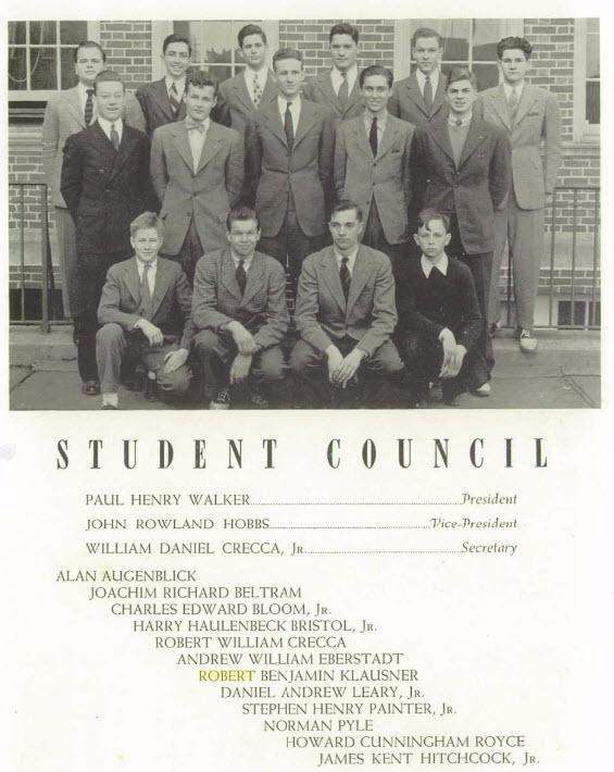 Robert Klausner, student council, Newark Academy