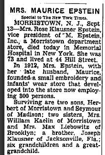 Rose Klausner Epstein obituary, NYT 13 Sept 1957