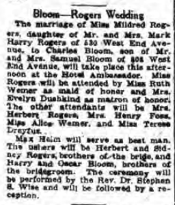Bloom - Rogers Wedding, NY Post 9 Oct 1923
