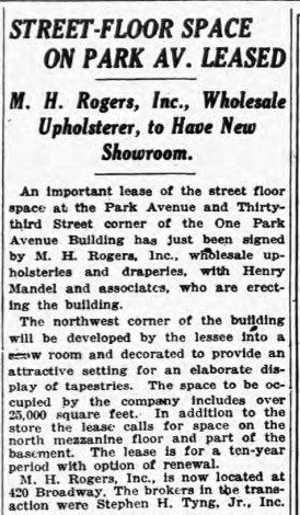 MH Rogers leases 1 Park Ave NYT 22 Aug 1925