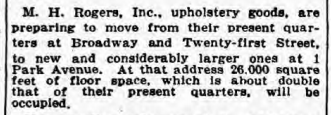 M.H. Rogers move to 1 Park Avenue. NYT 11 Sept 1925