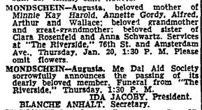 Augusta Mondschein obituary, NYT 19 Jan 1949