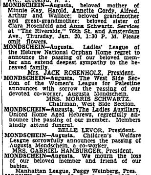 Augusta Mondschein obituary, NYT 20 Jan 1949