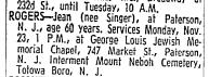Jean Singer Rogers obituary, NYT 23 Nov 1964