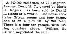 Mark Rogers Deal house sale NYT 3 July 1927