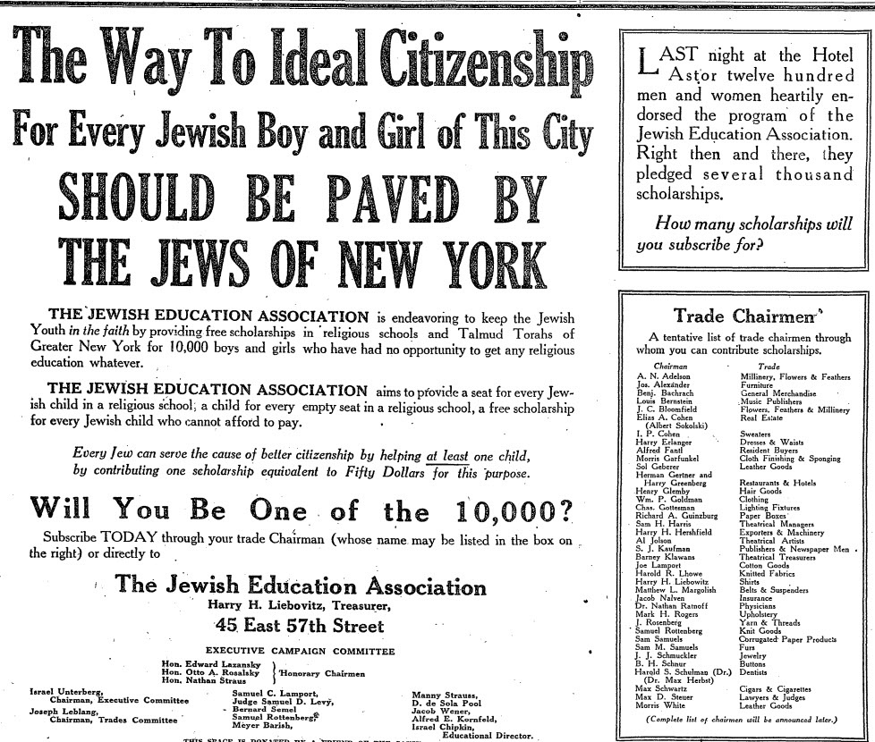 Jewish Education Association, NYT 18 Oct 1923