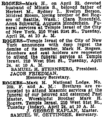 Mark Rogers obituary. NYT 23 April 1934