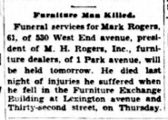 Mark Rogers obituary. Sun 23 April 1934