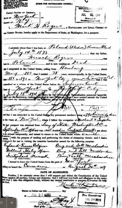 Mark Rogers Passport Application 28 Jul 1919