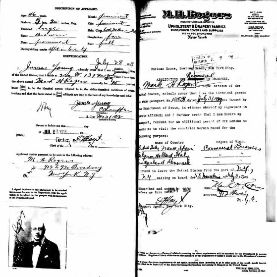 Mark Rogers Passport Application, 28 Jul 1919