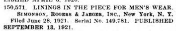 Simonson, Rogers & Jaeger patent 3 Jan 1922