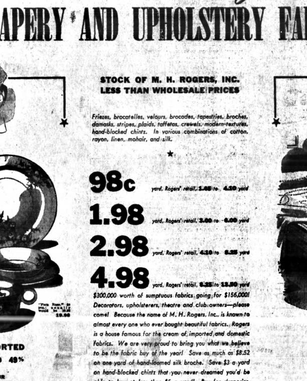M.H. Rogers Macy's ad Sun 16 Oct 1940