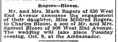 Mildred Rogers engagement. NYT 1 Oct 1923