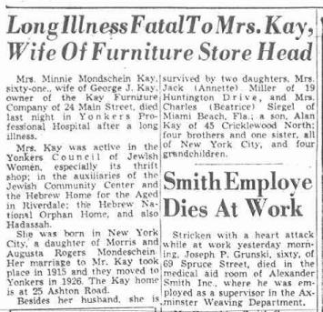 Minnie Mondschein Kay obituary, Yonkers Herald Statesman 22 Aug 1953