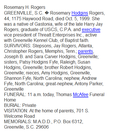 Rosemary Hodgins Rogers obituary, 5 Oct 1999