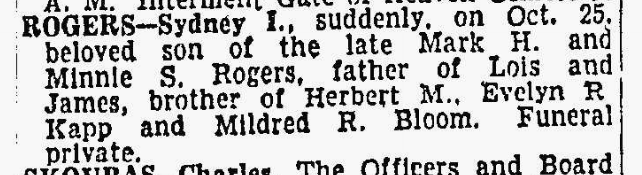 Sydney Rogers obituary, 25 Oct 1954