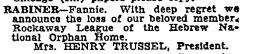 Fannie Rabiner, NYT 5 Jun 1934.