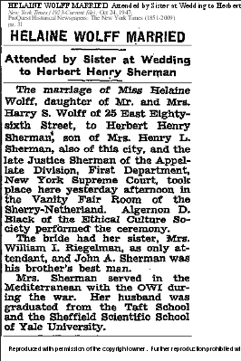 Helaine Wolff, NYT 24 Oct 1947