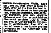 Helaine Wolff Sherman, NYT 5 July 1988