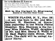 Andrew Harry Sherman, NYT 29 Nov 1949
