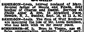 Louis Samilson obituary, 14 Sept 1947