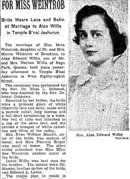 Meta Weintrob, NYT 26 Dec 1950