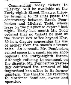 Mortimer Samilson - 48th St Theatre, NYT 1 Dec 1945