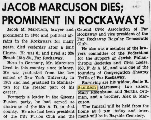 Jacob Marcuson, Brooklyn Daily Eagle 28 Sept 1942