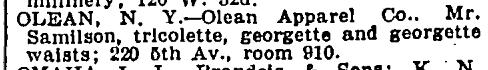 Mortimer Samilson, Olean Apparel, NYT 15 July 1920