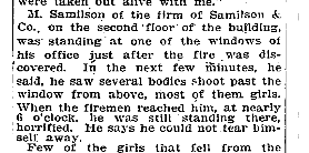 Mortimer Samilson, Triangle Shirtwaist Fire, NYT 26 Mar 1911