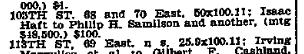 Philip H Samilson 68-70 East 105th St, NYT 3 Feb 1909