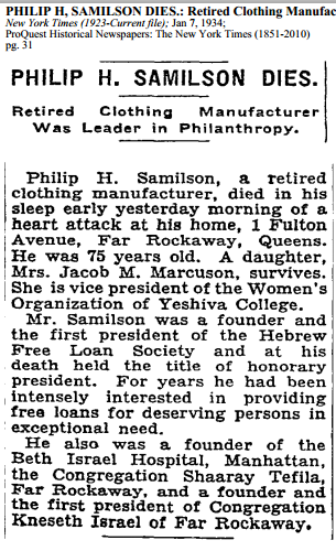 Philip H Samilson obituary, NYT 7 Jan 1934