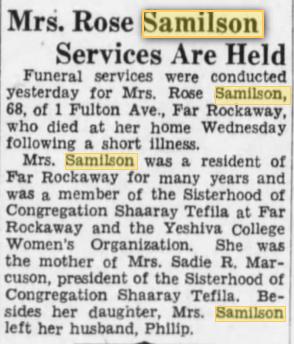Rose Samilson, Brooklyn Daily Eagle 30 Sept 1932
